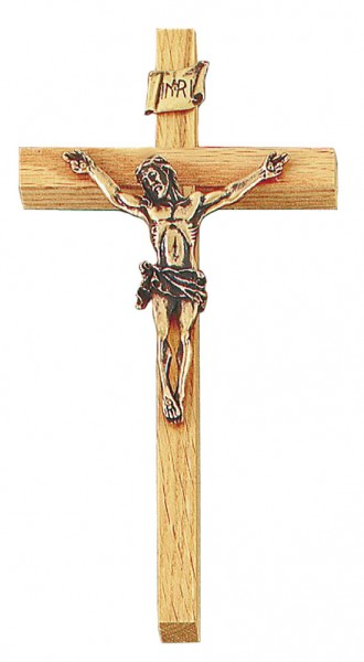 "Oak Wall Crucifix with 3.5 Inch Antique Gold Finish Corpus 8"" - Brown"