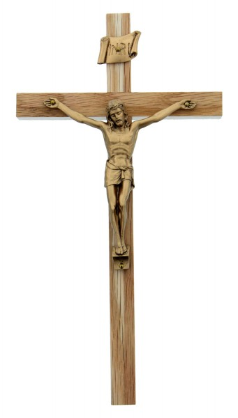 "Oak Wood Crucifix with Gold Corpus - 8"" - Light Brown"