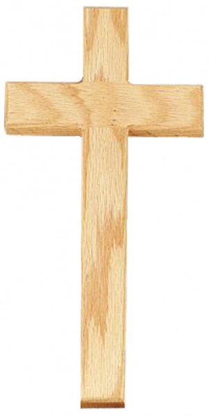 "Oak Wood Wall Cross with Plain Thick Crossbars 10"" - Brown"