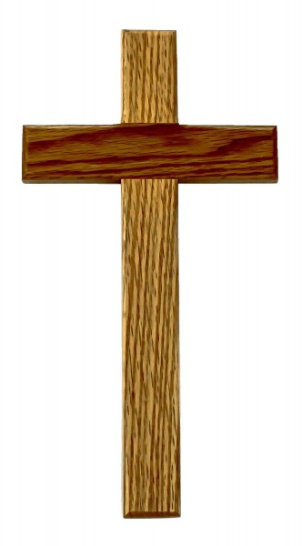"Oak Wood Wall Cross with Plain Thick Crossbars 12"" - Brown"