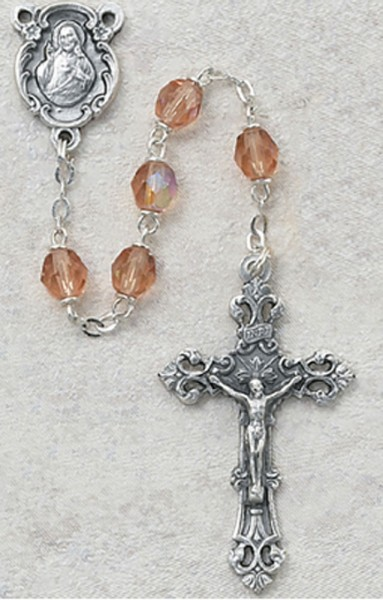 October Birthstone Rosary (Rose) - Silver Oxidized - Rose