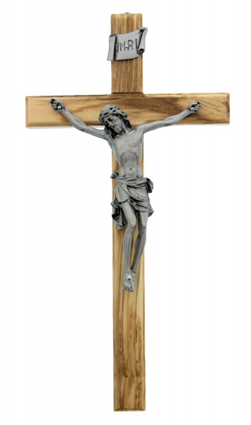 "Olive Wood Crucifix with Silver Corpus - 10"" - Olive Wood"