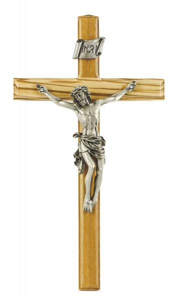 "Olive Wood Wall Crucifix with Beveled Edge and Antique Pewter Finish Corpus 8"" - Brown"