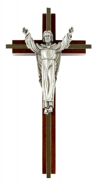 "Opulent Risen Christ Wall Crucifix in Walnut with Nickel Plated Inlay and Pewter Finish Corpus 8"" - Brown"