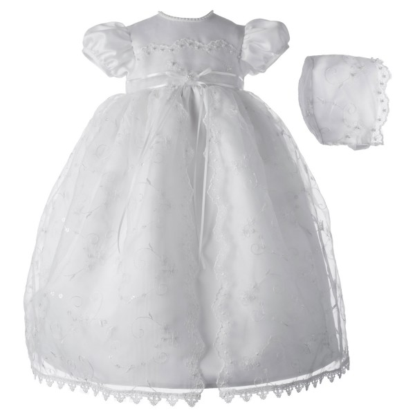 Organza Embroidered Sequin Christening Dress with Split Front - White