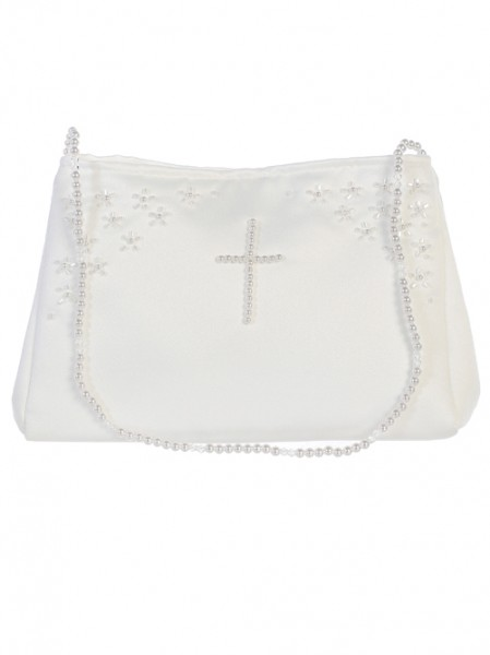 Satin First Communion Purse with Cross - White