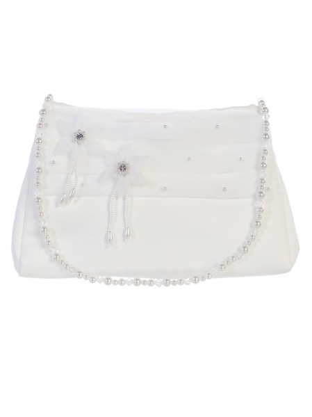 Organza Flower First Communion Purse - White