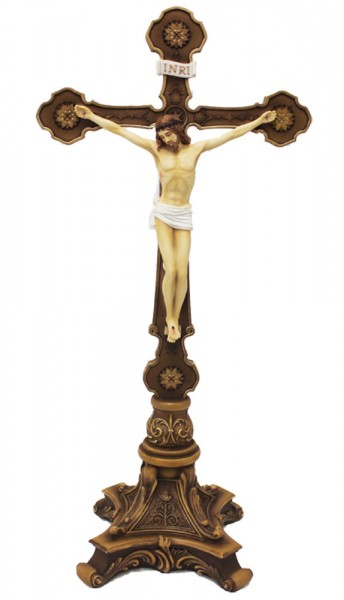 Ornate Standing Crucifix - Hand Painted 13 inch - Full Color