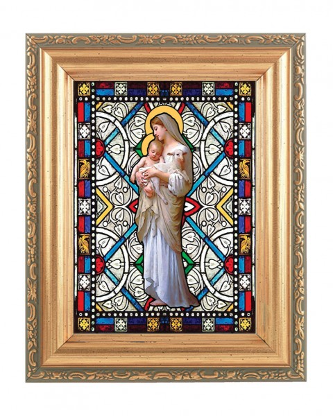 Our Lady of Divine Innocence Gold Frame Stained Glass Effect - Full Color