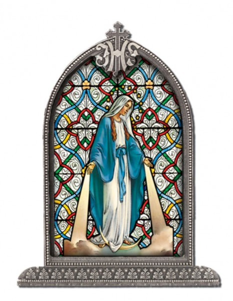 Our Lady of Grace Glass Art in Arched Frame - Full Color