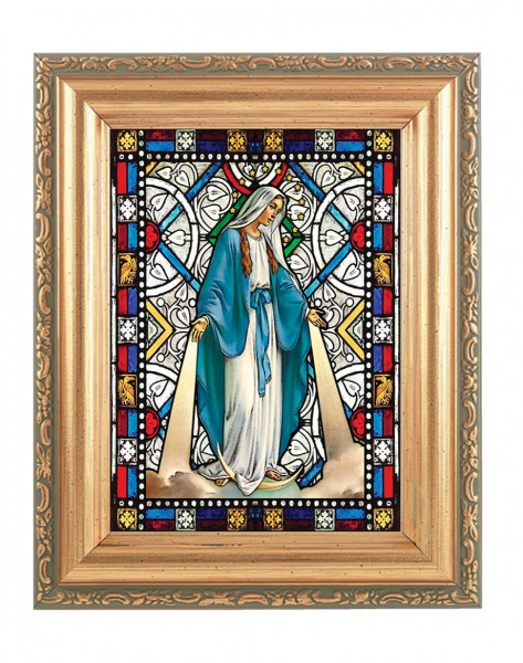 Our Lady of Grace Gold Frame Stained Glass Effect - Full Color