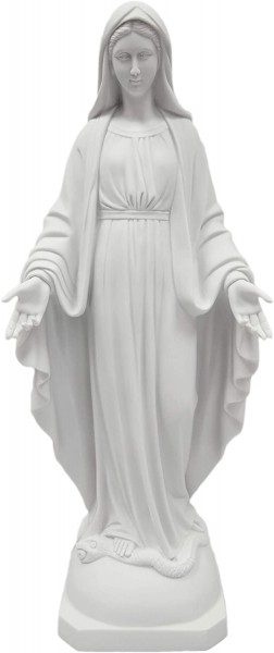 Our Lady of Grace Statue White Marble Composite - 23.5 inch - White