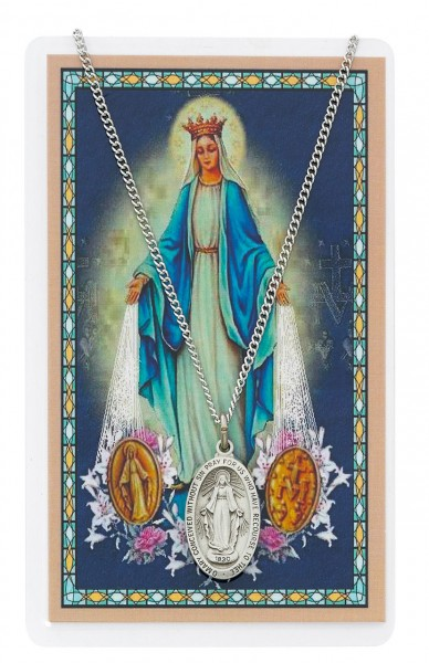 Our Lady of the Miraculous Medal with Prayer Card - Silver tone