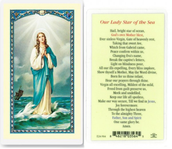 Our Lady Star of The Sea Laminated Prayer Cards 25 Pack - Full Color