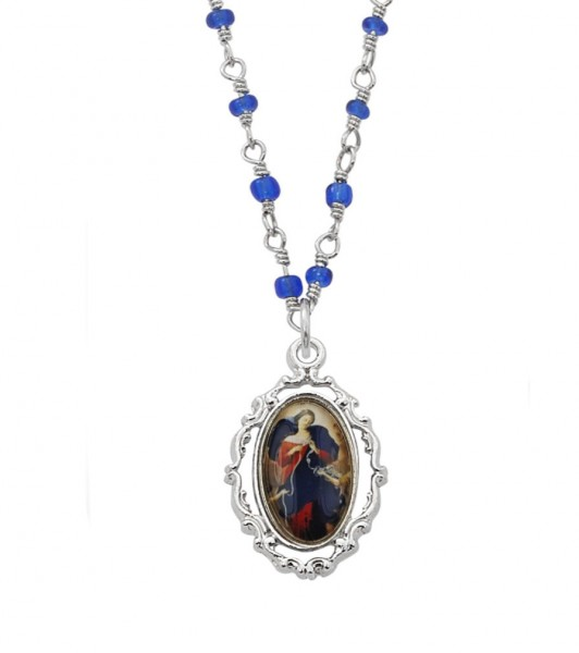 Our Lady Undoer of Knots Dainty Necklace - Silver | Blue