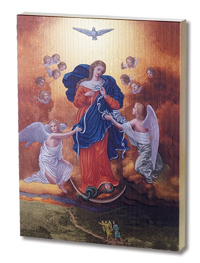Our Lady Undoer of Knots Gold Embossed Wood Plaque - Multi-Color