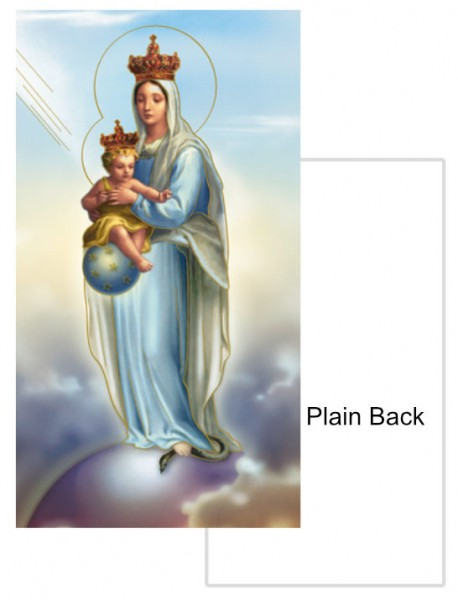Our Lady of Victory Plain Back Prayer Card - 100 Pack - Blue