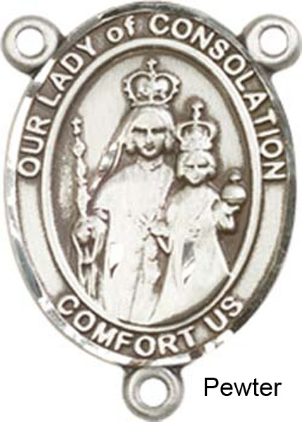 Our Lady of Consolation Rosary Centerpiece Sterling Silver or Pewter - Pewter