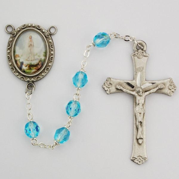 Our Lady of Fatima Aqua Glass Rosary - Aqua