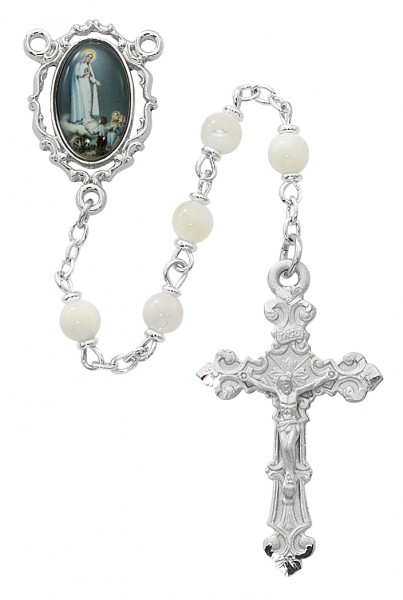 Our Lady of Fatima Mother of Pearl Rosary - Cream