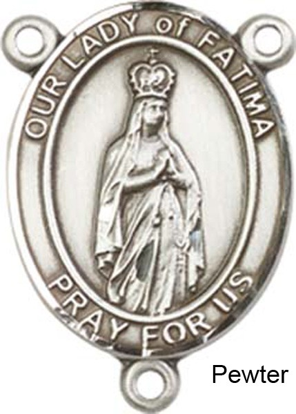 Our Lady of Fatima Rosary Centerpiece Sterling Silver or Pewter - Pewter