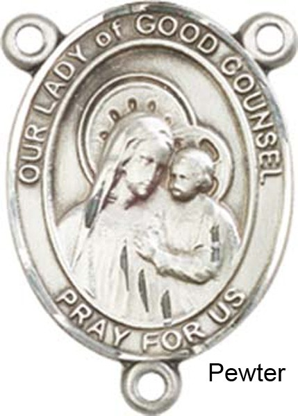 Our Lady of Good Counsel Rosary Centerpiece Sterling Silver or Pewter - Pewter