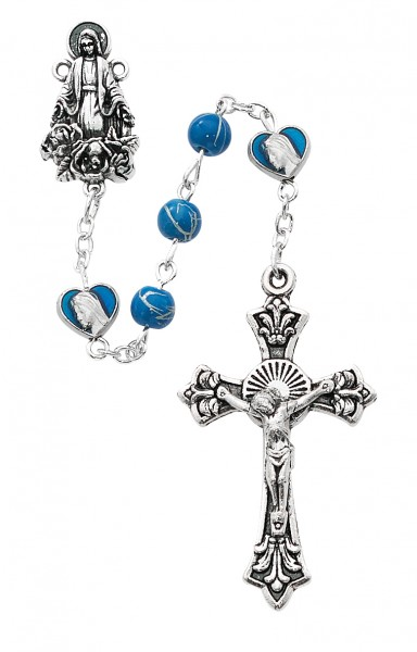 Our Lady of Grace Blue Enamel Heart Rosary - Blue