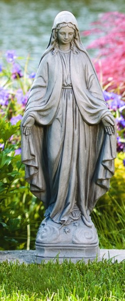 Our Lady of Grace Garden Statue 25 Inches - Old Stone Finish