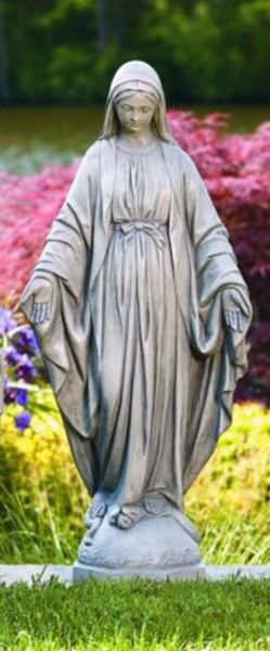 Our Lady of Grace Garden Statue 32.5 Inches - Old Stone Finish