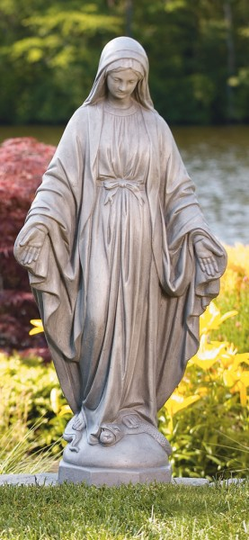 Our Lady of Grace Garden Statue 37 Inches - Old Stone Finish