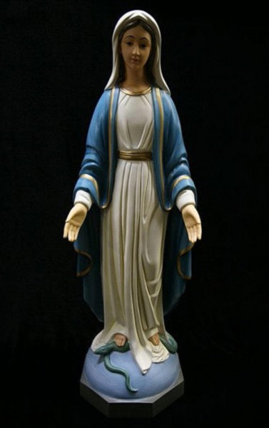 Our Lady of Grace Statue Hand Painted Marble Composite - 32 inch - Multi-Color