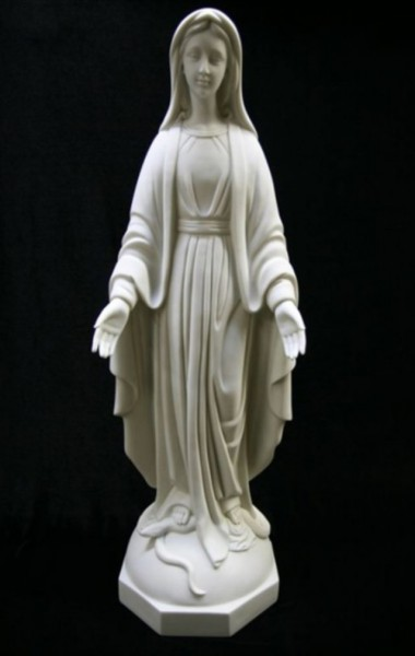 Our Lady of Grace Statue White Marble Composite - 32 inch - White