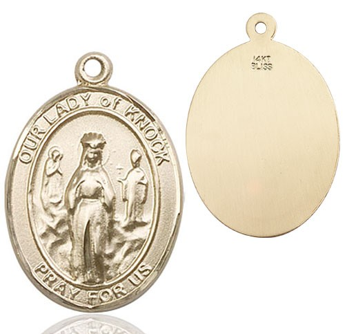 Our Lady of Grace of Knock Patron Saint Medal - 14K Yellow Gold
