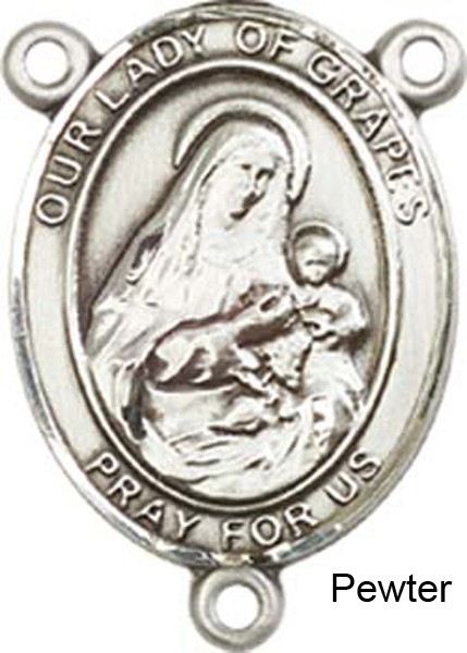 Our Lady of Grapes Rosary Centerpiece Sterling Silver or Pewter - Pewter