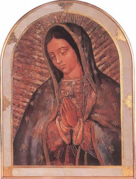 Our Lady of Guadalupe Bell-Shaped Florentine Plaque 23x31 Inches - Full Color
