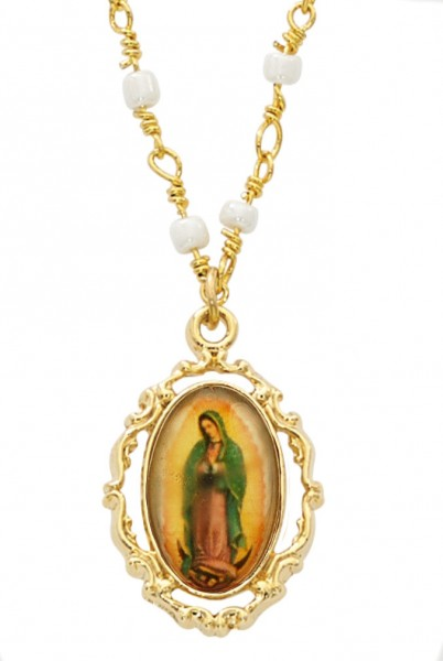Our Lady of Guadalupe Goldtone Necklace - Gold Tone