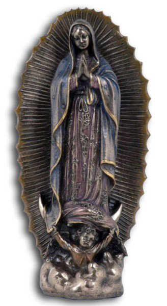 Our Lady of Guadalupe Statue in Bronzed Resin - 9.5 inches - Bronze