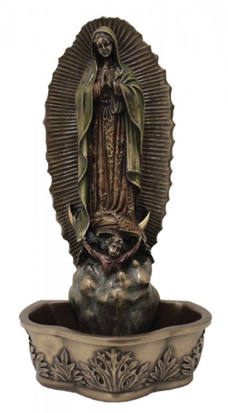 Our Lady of Guadalupe Water Font - 7 1/2 inch - Bronze