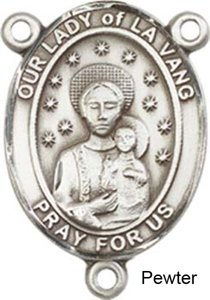 Our Lady of La Vang Rosary Centerpiece Sterling Silver or Pewter - Pewter