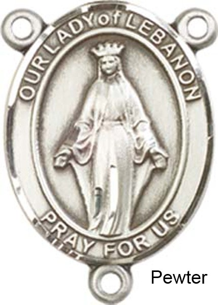 Our Lady of Lebanon Rosary Centerpiece Sterling Silver or Pewter - Pewter