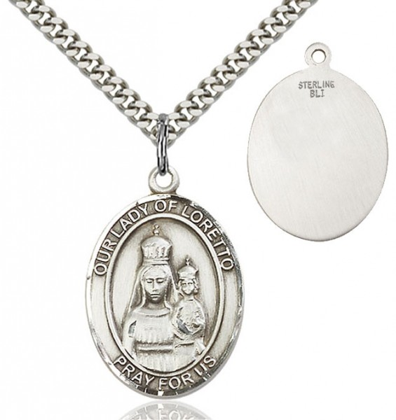 Our Lady of Loretto Patron Saint Medal - Sterling Silver