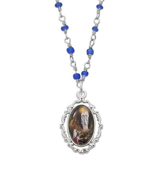 Our Lady of Lourdes Open-Cut Necklace - Silver | Blue