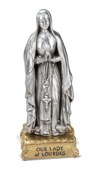 Our Lady of Lourdes Pewter Statue 4 Inch - Pewter