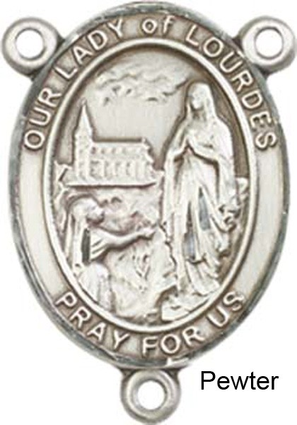 Our Lady of Lourdes Rosary Centerpiece Sterling Silver or Pewter - Pewter