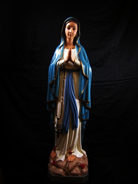 Our Lady of Lourdes Statue Hand Painted - 39 inch - Full Color