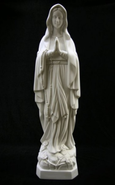 "Our Lady of Lourdes Statue White Marble Composite - 27 1/2"" - White"