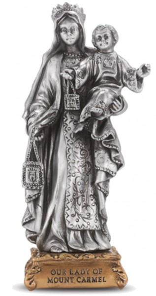 Our Lady of Mt Carmel Pewter Statue 4 Inch - Pewter