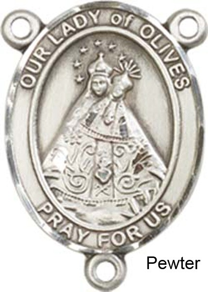Our Lady of Olives Rosary Centerpiece Sterling Silver or Pewter - Pewter
