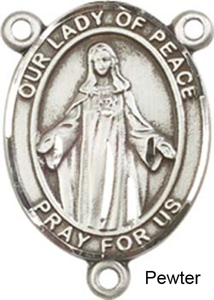 Our Lady of Peace Sterling Silver Rosary Centerpiece - Pewter