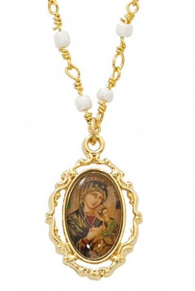 Our Lady of Perpetual Help Necklace - Gold Tone